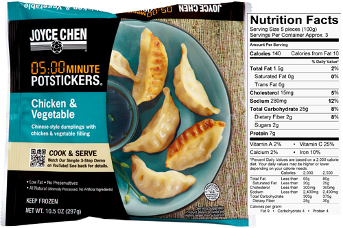Microwaveable Chicken Vegetable Potstickers