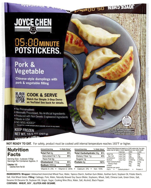 Joyce Chen Potstickers with unbleached flour