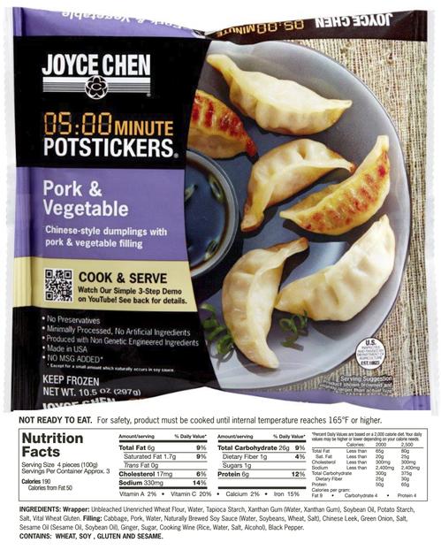 Joyce Chen Potstickers with unbleached flour